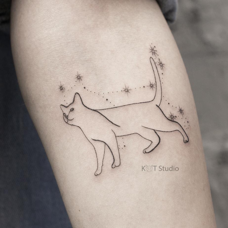 Женское тату на предплечье в стиле минимализм. Татуировка с котом и звездами