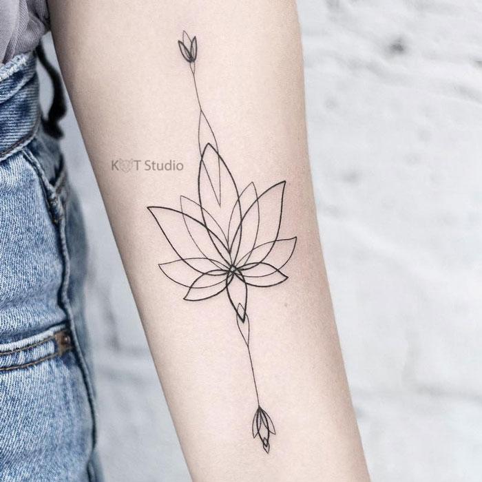 Тату на руку девушке. Тату лотос на руке. Идея женской татуировки