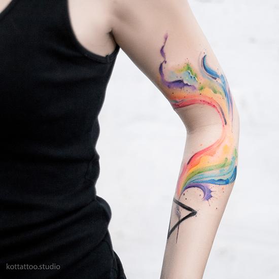 Цветное тату для девушки дисперсия цвета акварель геометрия